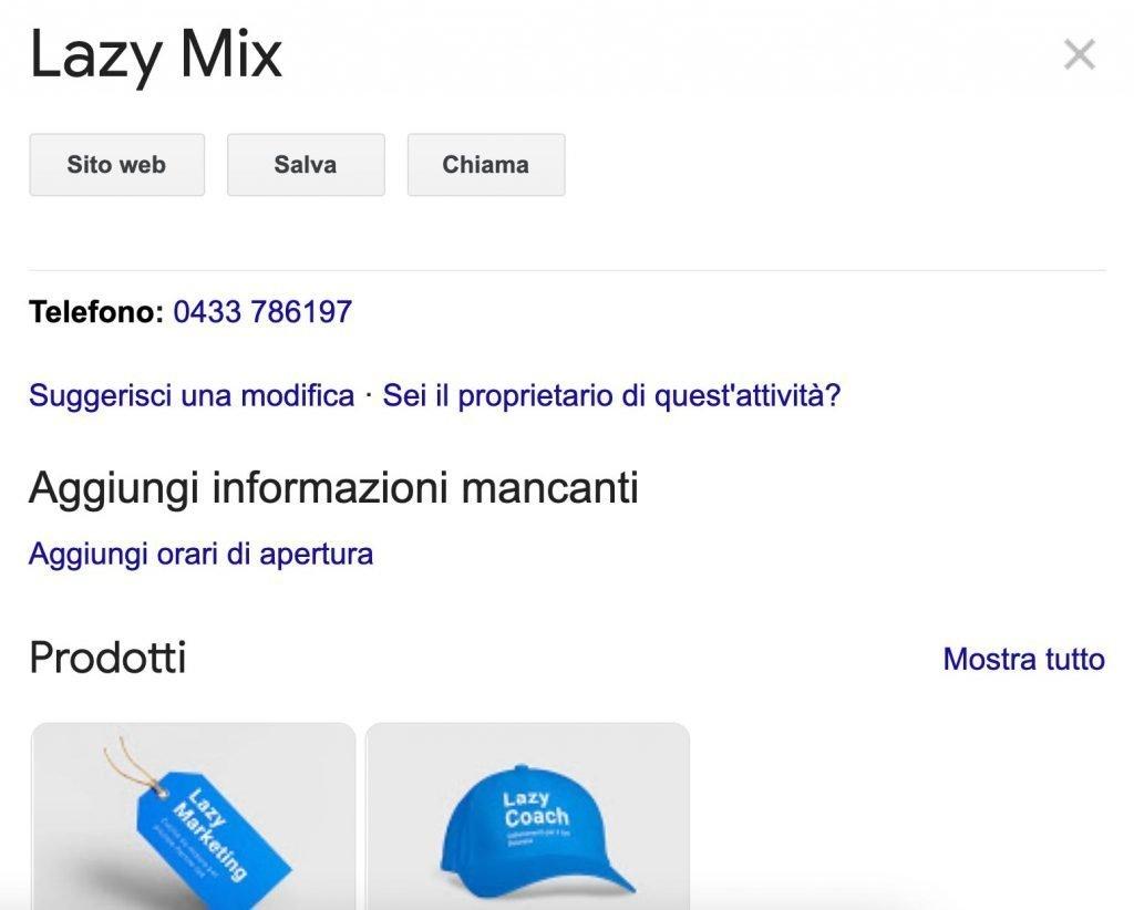Esempio del mio profilo su Google My Business.
