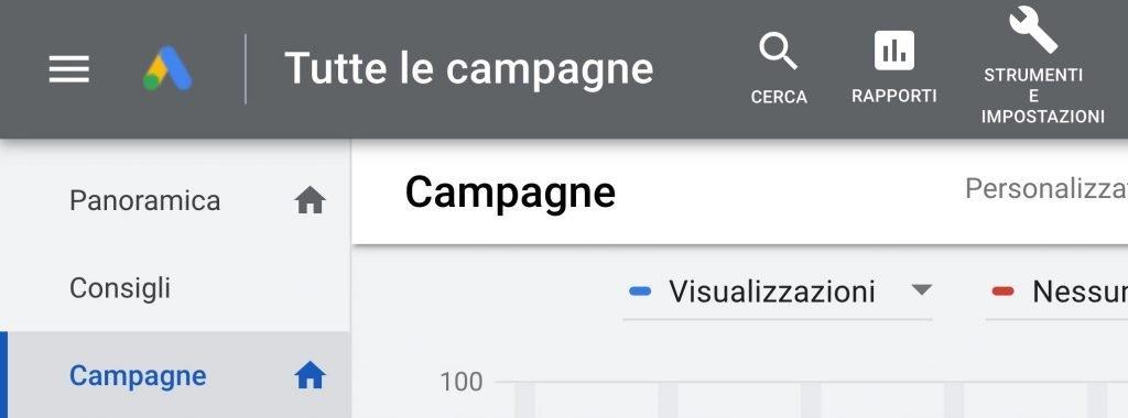 Controllo delle campagne con Google ads.