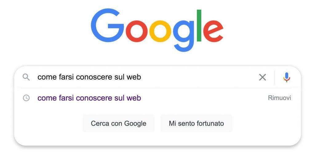 """Ricerca su Google di """"come farsi conoscere sul web""""."""