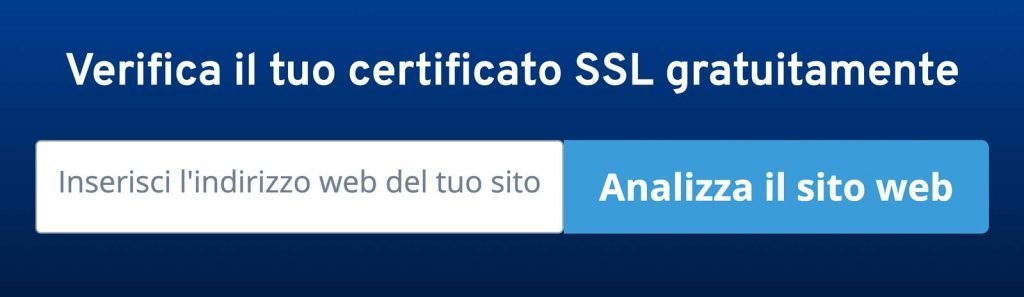 Vista del tool di Ionos per verificare il certificato di sicurezza SSL di un Sito Web.