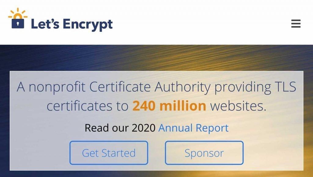 Il Sito Web del provider Let's Encrypt.